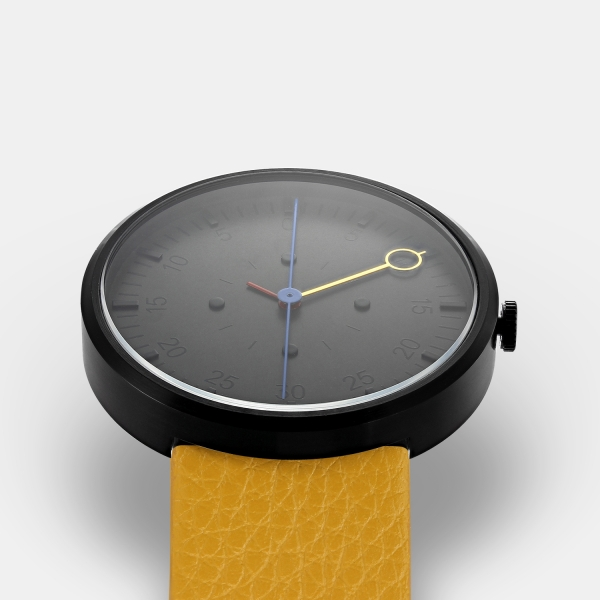 OPTIMEF yellow leather watch
